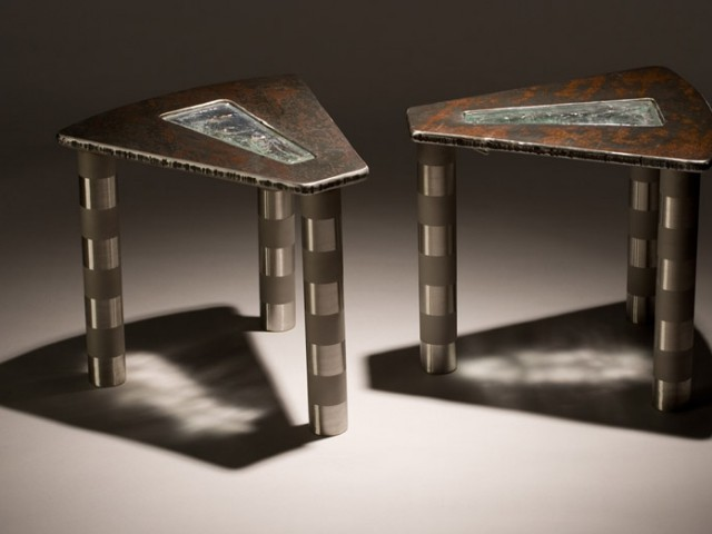 Side-tables with inlaid glass